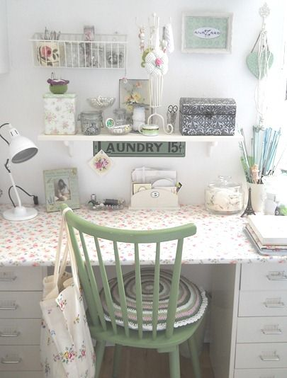 I love shabby chic.  This would be nice if I ever get a little space to myself in the house