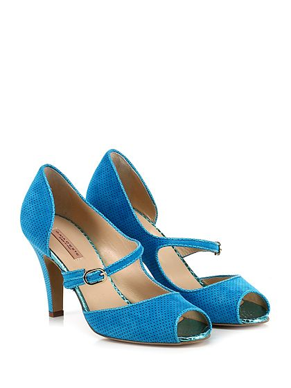 Gaia D'Este - Scarpa con tacco - Donna - Scarpa con tacco open toe in camoscio traforato con cinturino su collo piede e suola in cuoio. Tacco 90. - TURCHESE - € 215.00