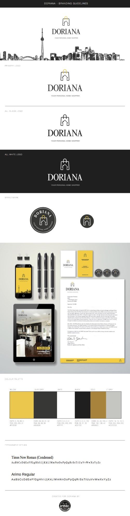 The completed branding guidelines we did for Doriana, the Personal Home Shopper.