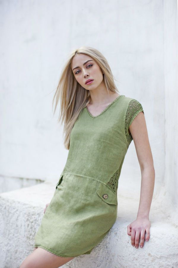 Haris Cotton,Linen Dress with Cotton Lace 1387 Olive