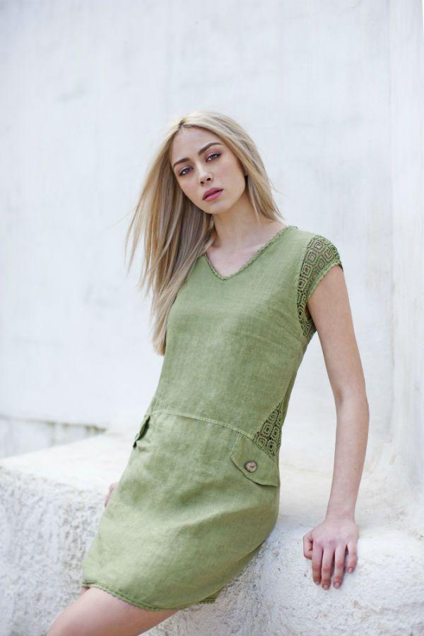 Haris Cotton,Linen Dress with Cotton Lace 1387 Olive