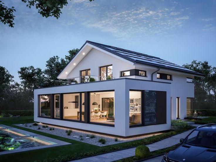 satteldach modern virtuelle besichtigung groae glasflachen ein schwebender wohnkarper mit geschoss hohen fensterelementen und klassisches das concept m modernes haus