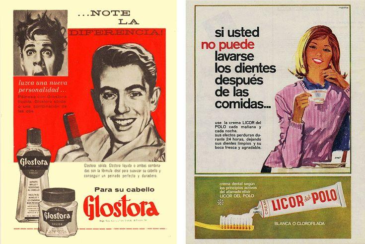 Loción para el cabello Glostora de 1962 y Pasta dental Licor del Polo, 1965