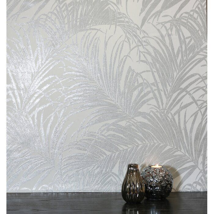 Luxe Palm Kiss 10 05m X 53cm Metallic Wallpaper Roll Silver Leaf Wallpaper Metallic Wallpaper Silver Wallpaper Living Room