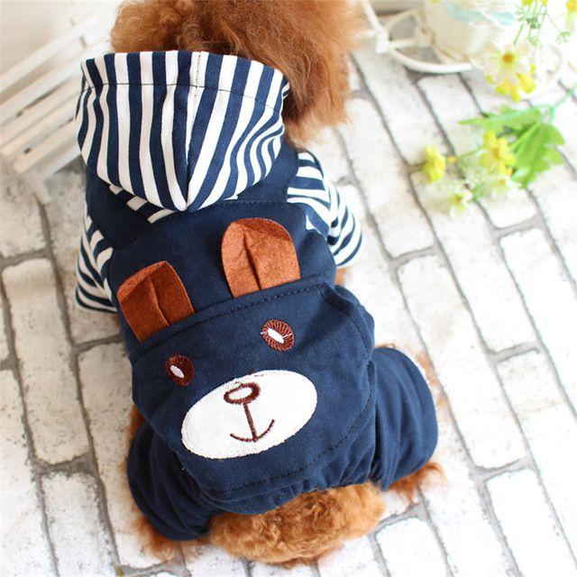 Nuevo 4 Diseño Striple Lindo Oso Patrón de la Capa Caliente Del Perro ropa Chaqueta de Invierno Cuatro Patas Mono Traje de Mascota Gato Ropa DC446
