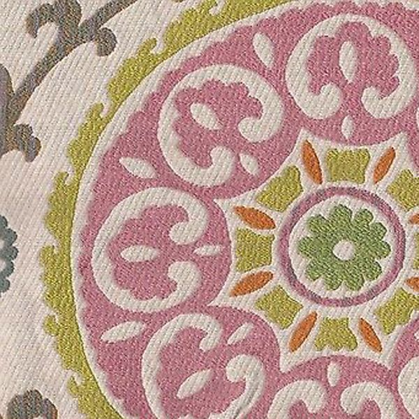 this is a pink and green floral geometric medallion design upholstery fabric suitable for any