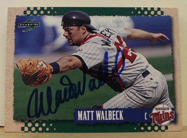 Matt Walbeck Minnesota Twins Autographed 1995 Score Card