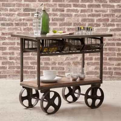 Pulaski Industrial Mixed Media Trolley Bar Cart in Silver