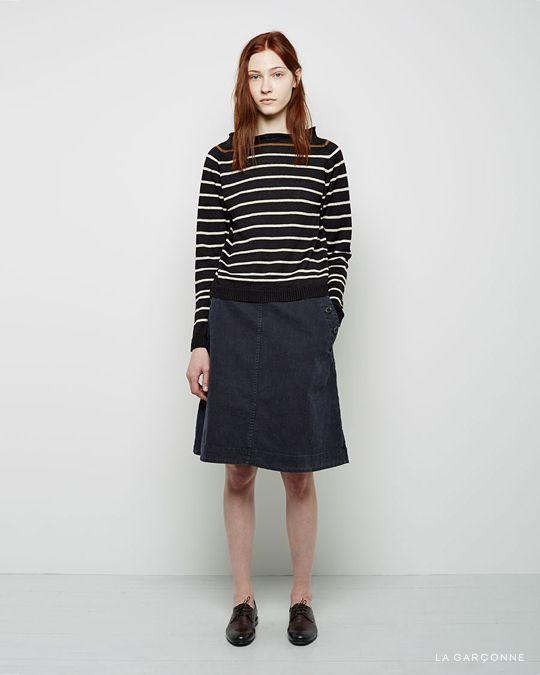 MHL by Margaret Howell / Linen Stripe Pullover  MHL by Margaret Howell / Sailor Skirt Jil Sander / Oxford