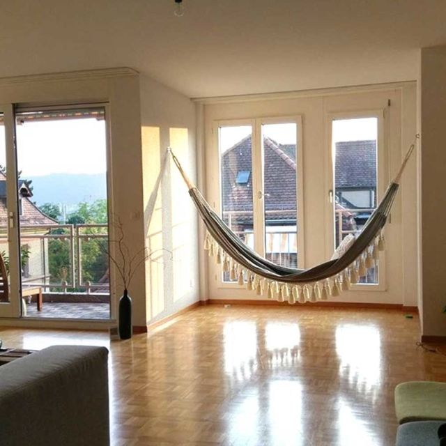 Getting an indoor hammock will create an oasis at home, a space to relax and enjoy, a happy corner that can be glamorous or bohemian.This picture is sent by our customer who lives in Germany.