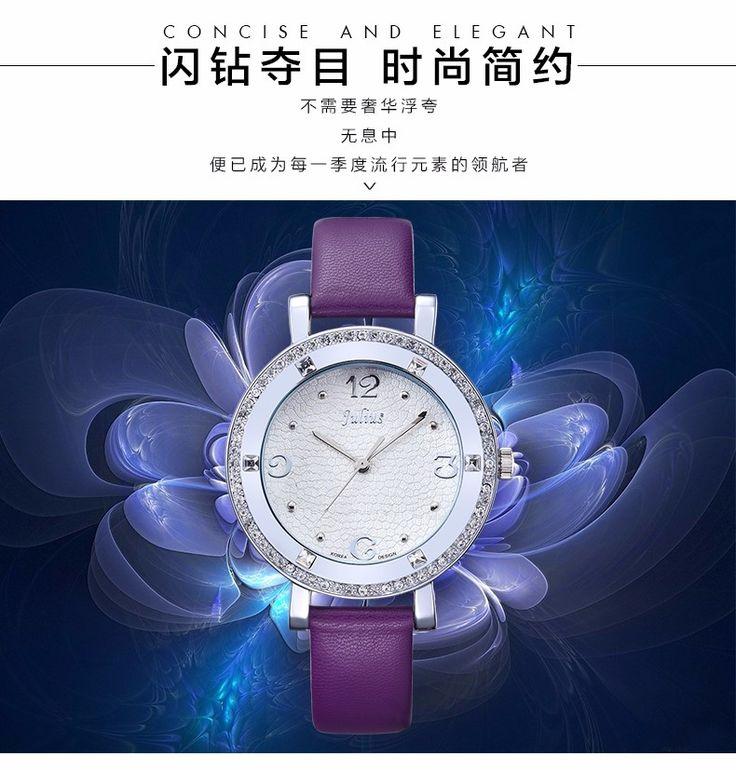 Top Julius Lady Women's Wrist Watch Elegant Rhinestone Fashion Hours Luxury Clock Dress Bracelet Leather Girl Birthday Gift 827
