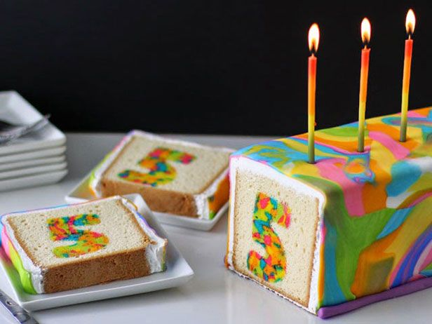 A Neon Tie-Dye Surprise Cake!!! Yes.