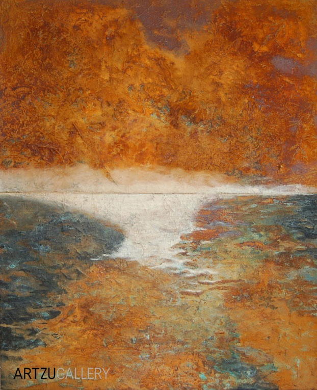 'Autumnal Dusk' captures earthy tones in copper oxides and rich pigments in this textured painting: http://www.artzu.co.uk/category/paintings/louisa-hope/