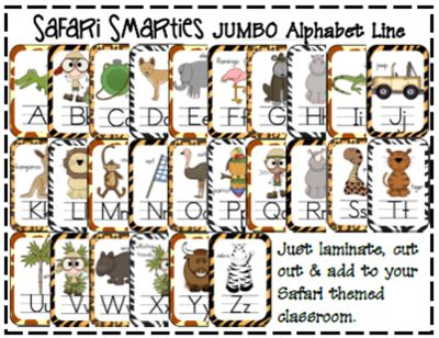 Safari Smarties JUMBO Alphabet Line: A Phonics Poster Set from Tangled Up In Teaching on TeachersNotebook.com (28 pages)