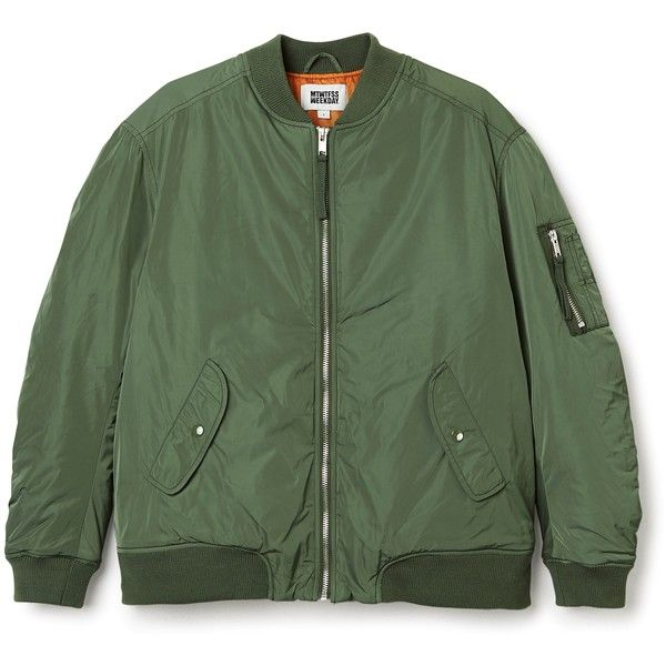 Bon Jacket found on Polyvore featuring outerwear, jackets, green jacket, green bomber jacket, oversized bomber jacket, bomber jacket and oversized jacket