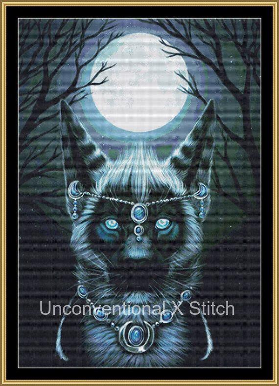 Big cat mooncat gemstone cross stitch pattern  by UnconventionalX