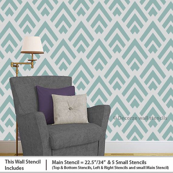 home wall stenciling ideas diy home dcor geometric reusable wall stencil pattern - Bedroom Stencil Ideas