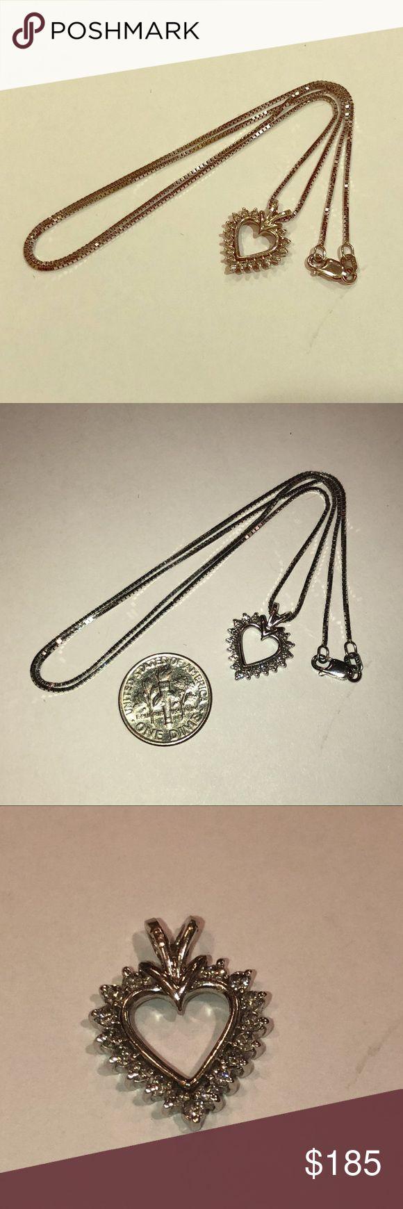 14k Gold Chain & 10k Heart Pendant Diamonds Pre-loved pieces 14k white gold chain plus 10k gold heart with real diamonds. Jewelry Necklaces