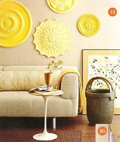 Take wood accents, which you can find in the milwork dept. at menards, between $3-$6, and you can paint them various shades of one color or a bunch of fun colors for easy light wieght wall art!: Wall Art, Wall Decor, Ideas, Color, Living Room, Ceiling Medallions, Ceilings, Diy