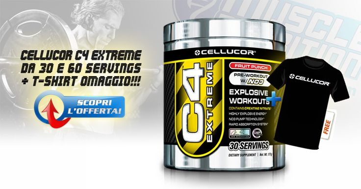 ▶ CELLUCOR C4 EXTREME ◀ Il famosissimo pre-allenamento esplosivo, da 30 e 60 porzioni, al prezzo speciale di Muscle Nutrition + T-Shirt omaggio!!! Info Prodotti:http://goo.gl/NJko9z