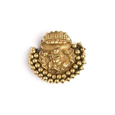 A gold repousse braid ornament depicting Lord Krishna playing a flute to his Gopis under the protection of the hooded Naga South India 19th Century