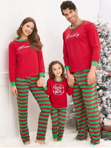 Christmas Striped Letter Printed Matching Family Pajama Sets ... b3374642f