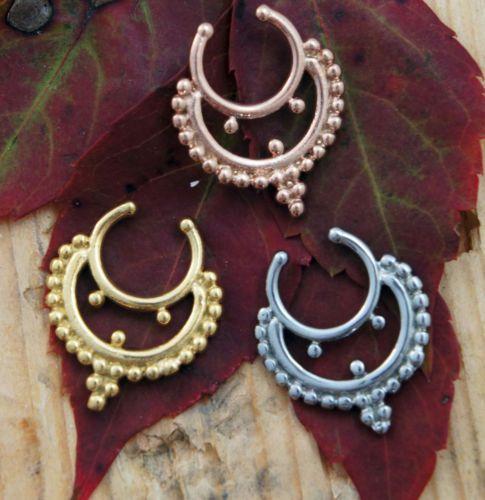 Simple-Crescent-Septum-Illusion-Clip-Nose-Jewelry-Clicker-Ring-Non-Piercing-New