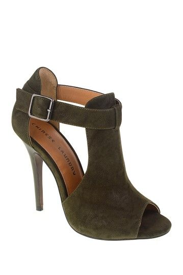 Olive Green Faux Suede Jolt Open Toe Bootie by Chinese Laundry on @HauteLook