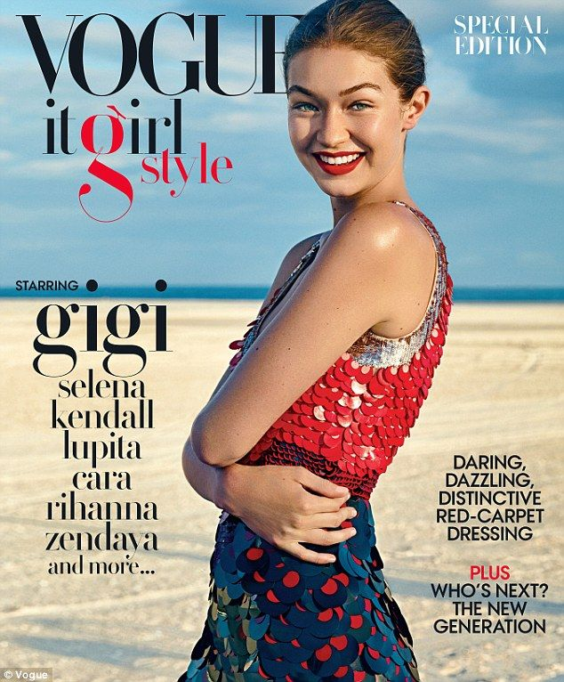 All-American: #GigiHadidlooked absolutely stunning in a large sequined red and white dress design by Altuzarra (pice tag over £3120.17) on the cover of the #Vogue It Girl Style special edition
