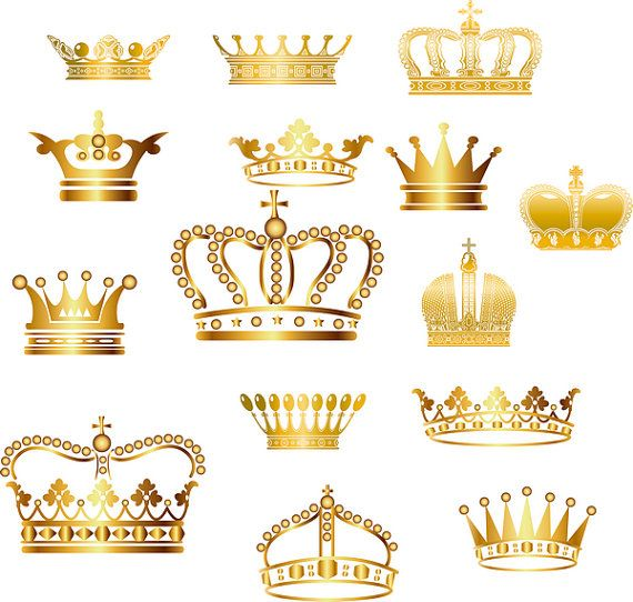Gold Crown Clip Art  Crown Clipart  Digital Crown por BlueGraphic