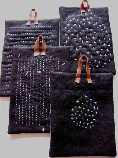 Peapod Journal: On My Fridge... Sashiko pot holders