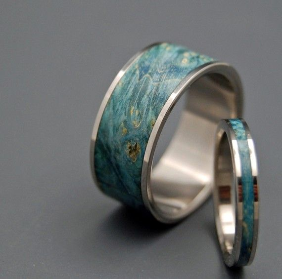 I kind of want these for J & I. Blue Wooden Wedding Rings by MinterandRichterDes