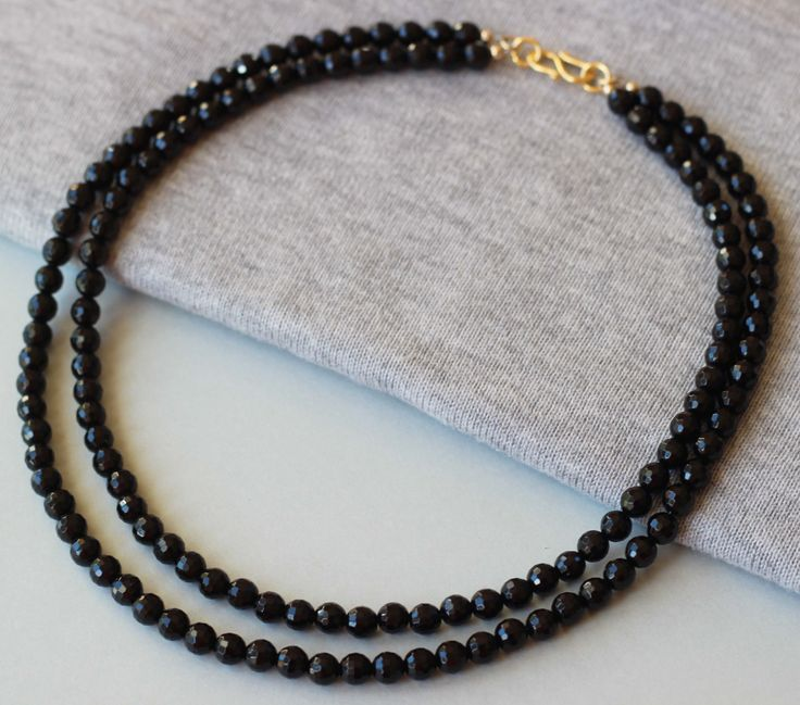 Black Onyx Faceted Gemstones Two Strands Necklace by ILgemstones on Etsy