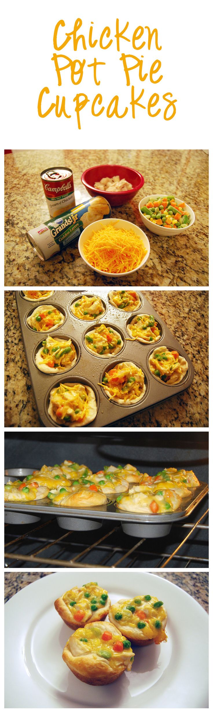 Chicken Pot Pie Cupcakes  2 cans (12.5 oz) chicken,  1 can (10.5 oz) cream of chicken,  1/2 cup sour cream,  1 1/2 cup frozen veggies, 1 cup shredded cheese,  Garlic powder, basil, parsley, pepper, & Italian seasoning 3 cans (7.5 oz) Aldi's buttermilk biscuits (rolled out 2 together for each muffin tin)  Yields 15 muffins
