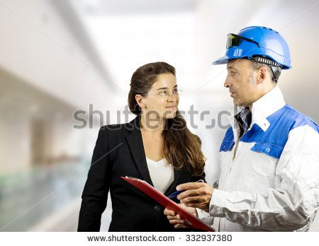 workers against design interior background
