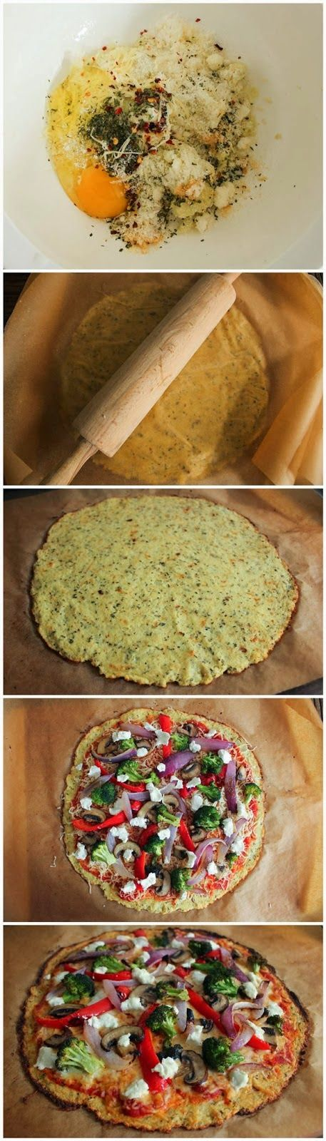 Cauliflower Pizza Crust with Roasted Vegetables and Goat Cheese