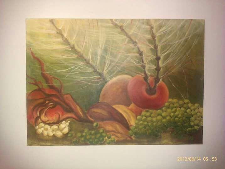 Inspirace komárem, olej na plátně 50x70 cm.