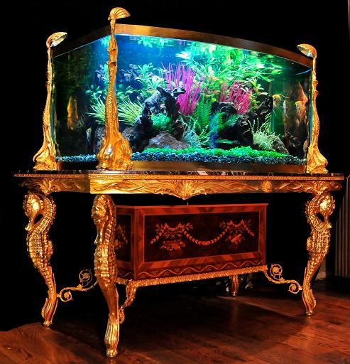 Ornate Double Bow Aquarium for Sale - Liberace - Fish Gallery Inc.    wow, who'd need tv