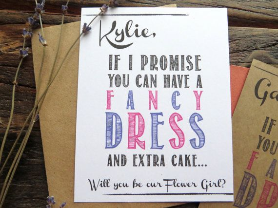 Ask Flower Girl Card Invite. Rustic Funny bridal invites. How to Ask Flower Girl, Bridesmaid. You get a fancy dress and extra cake! Rustic wedding.... by rusticandruffly on etsy.