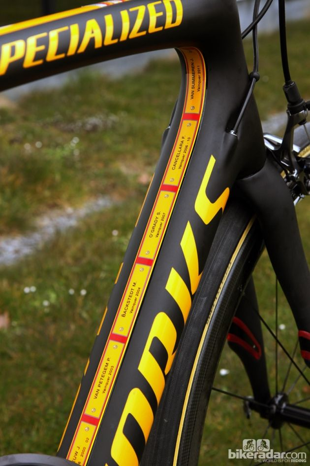 Specialized has commemorated past winners of paris-roubaix inside the main triangle: specialized has commemorated past winners of paris-roubaix inside the main triangle