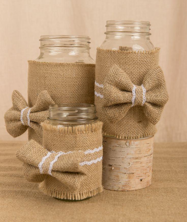 Burlap wrapped mason jars #design #centerpiece #candybar