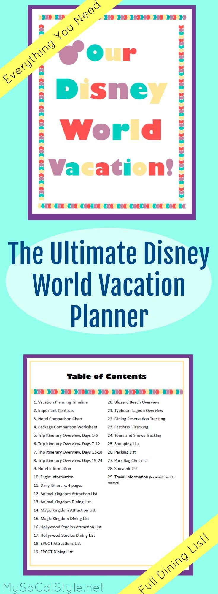 This is the PERFECT planning tool for a Disney World vacation! 32 pages of planning templates and resources. | A Must Have for your next trip!