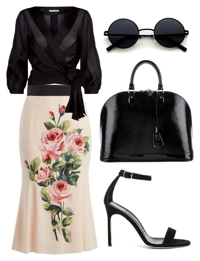 """Untitled #200"" by zsofi-szibilla on Polyvore featuring Dolce&Gabbana, Alice + Olivia, Manolo Blahnik and Louis Vuitton"