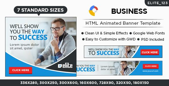 Business HTML5 Banners - 7 Sizes - Elite-CC-123