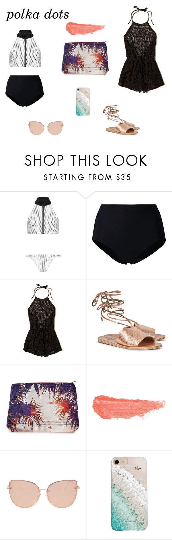 """Swim Day"" by superwoman1520 ❤ liked on Polyvore featuring Lisa Marie Fernandez, Ermanno Scervino, Hollister Co., Ancient Greek Sandals, Samudra, By Terry, Topshop and Gray Malin"