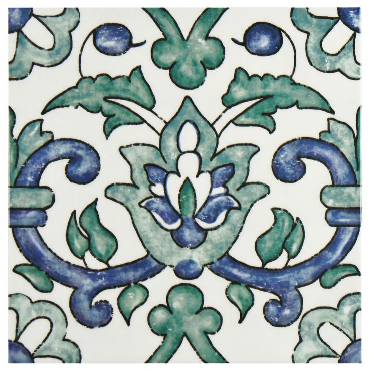 The SomerTile 7.75x7.75-inch Borough Gaia Ceramic Wall Tile offers a European look. The tile features a watercolor painting design in forest green and navy blue with a high sheen finish. The tile has slight indentation for various depths and dimension.