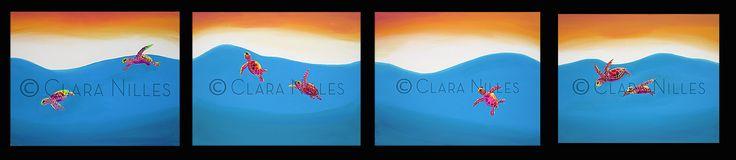 Travelers, Quadriptych 16x20 series original acrylics on canvas