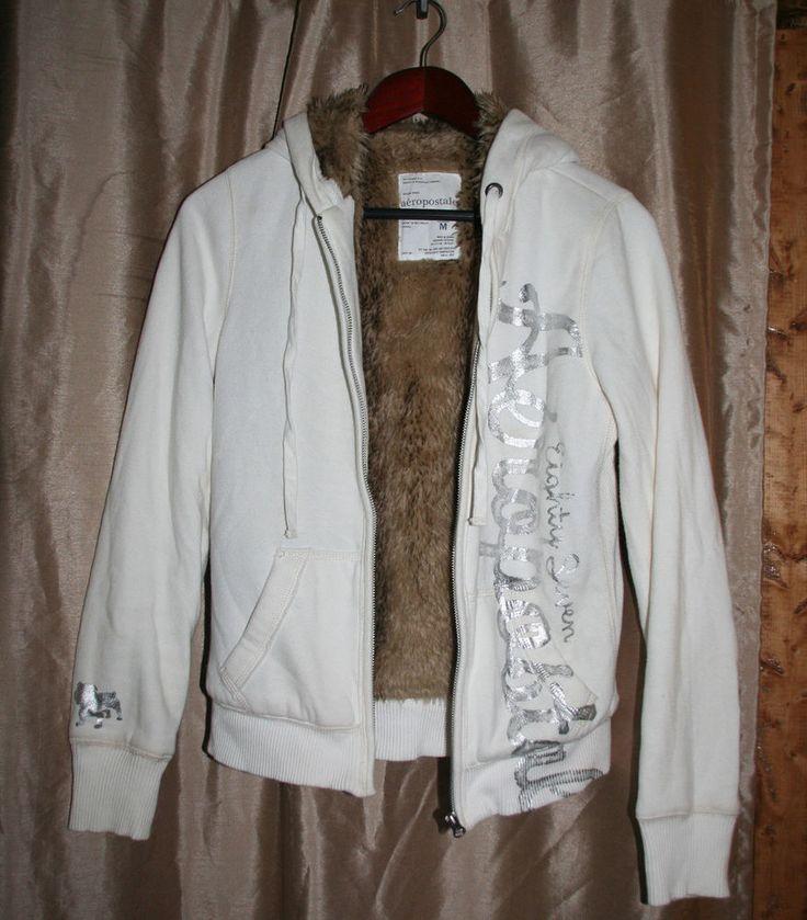 AEROPOSTALE Juniors Ivory Faux Fur Lined Hoodie Sweatshirt Size M #AEROPOSTALE #Hoodie