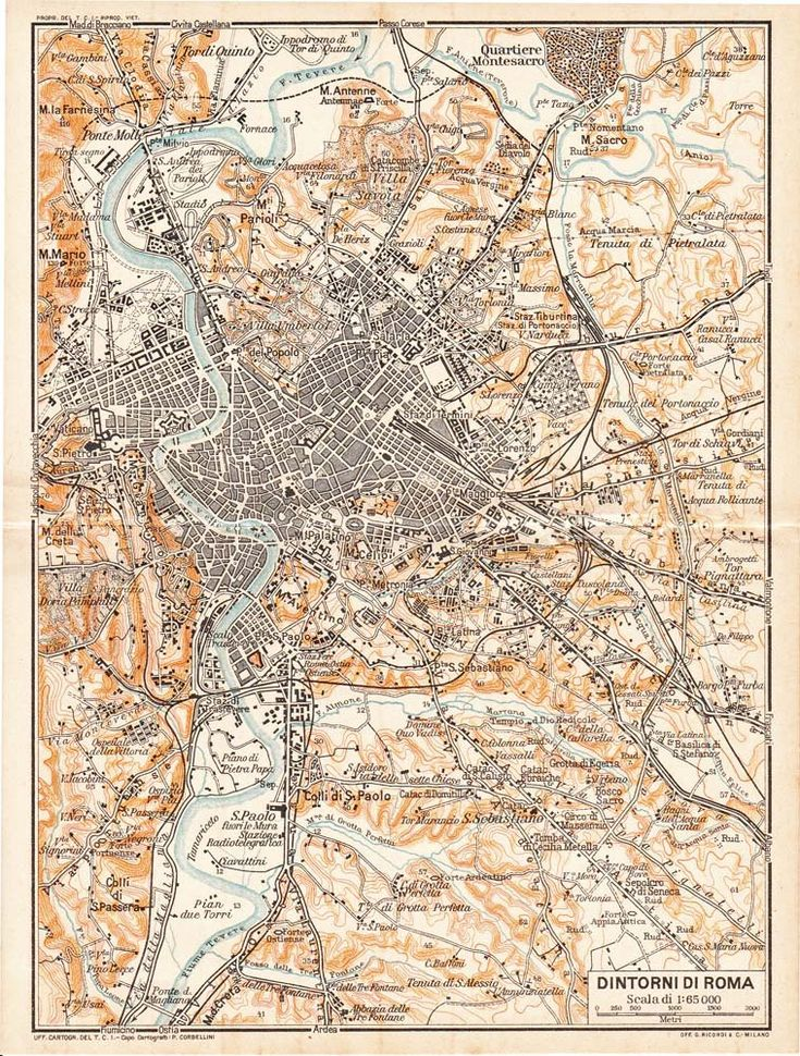 Rome Environs Vintage Map 1925. carambas.  would go well with my modern day map of Rome.