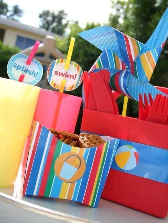 Pool Party Favors Ideas tell your friends to skip the towels and water bottles because youve got them ready as party favors oh goodie designs packaged theirs extra nice with a Pool Party Printables